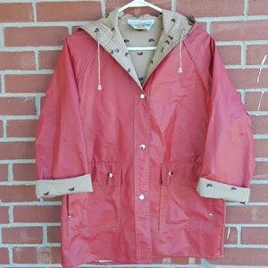 Vintage red raincoat with duck lining size medium